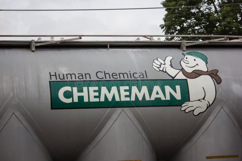 Cement Tank truck of Chememan stock image