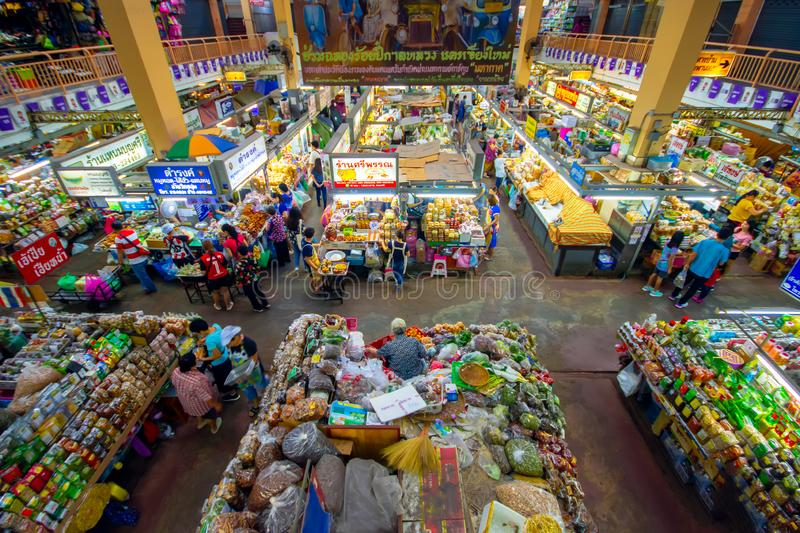 CHIANGMAI,THAILAND - DECEMBER 10, 2018 Warorot Market, locally called Kad Luang, is the one of Chiang Mai`s largest market.The pla. Ce to go to buy cheaper and stock images