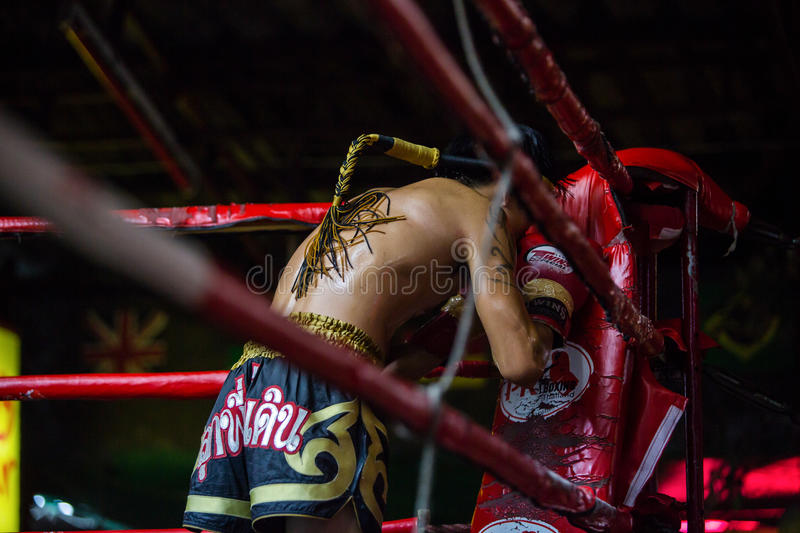 CHIANGMAI THAILAND- JULY 30 : Unidentified players in Muaythai royalty free stock photo