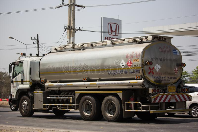 Private Oil Truck. Chiangmai, Thailand - March 8 2019: Private Oil Truck. On Truck on road no.1001, 8 km from Chiangmai city auto business car cargo diesel royalty free stock image
