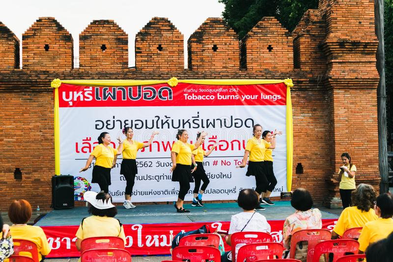 CHIANGMAI,THAILAND MAY 26,2019 - Elder people dancing at World no Tobacco day royalty free stock image
