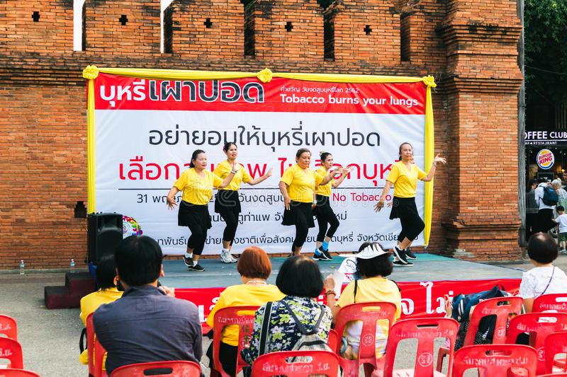 CHIANGMAI,THAILAND MAY 26,2019 - Senior group dancing at World no Tobacco day campaign royalty free stock images