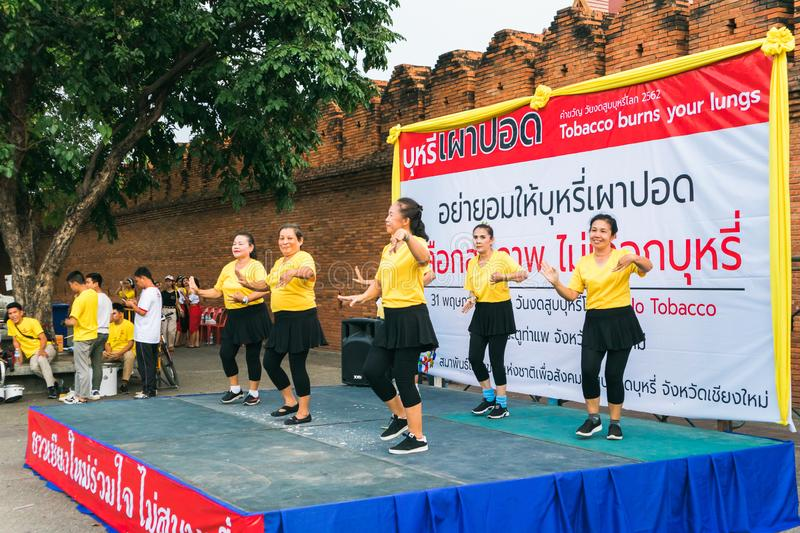 CHIANGMAI,THAILAND MAY 26,2019 - Senior woman people dancing at World no Tobacco day campaign royalty free stock photography