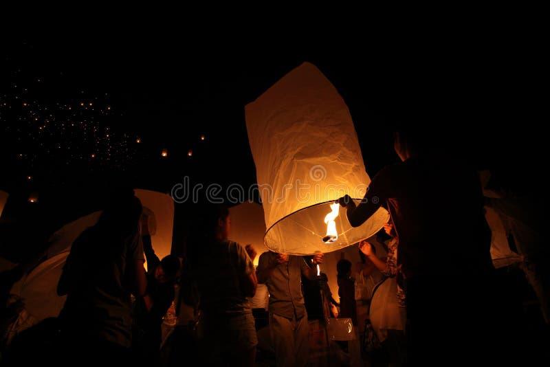 CHIANGMAI, THAILAND - OCTOBER 24 : Thai people floating lantern. October 24 ,2012 in Maejo, Chiangmai, Thailand. CHIANGMAI, THAILAND - OCTOBER 24 : Thai people stock photo