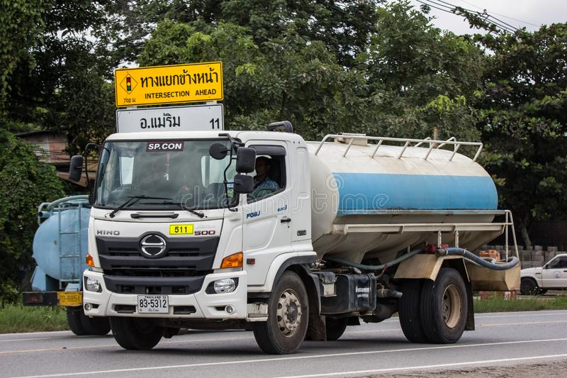 Private Oil Tank Truck. Chiangmai, Thailand - September 10 2018: Private Oil Tank Truck. Photo at road no.1001 about 8 km from city center, thailand stock photography