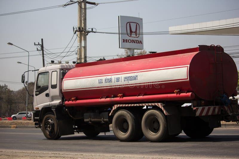 Private Oil Tank Truck. Chiangmai, Thailand - September 6 2018:  Private Oil Tank Truck. On Truck on road no.1001, 8 km from Chiangmai city molasses auto royalty free stock photography