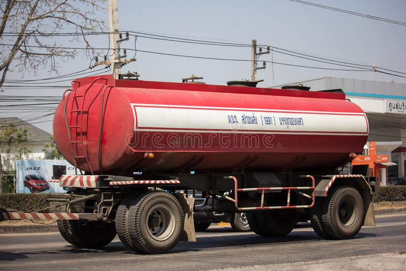 Private Oil Tank Truck. Chiangmai, Thailand - September 6 2018:  Private Oil Tank Truck. On Truck on road no.1001, 8 km from Chiangmai city molasses auto stock images