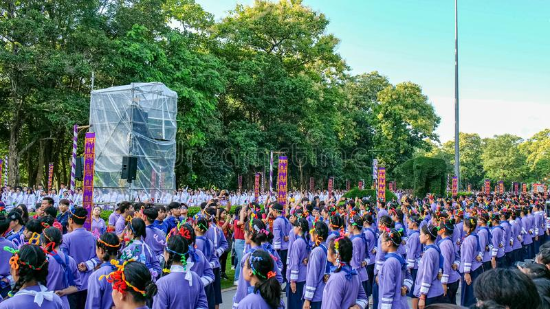 Chiangmai,Thailand September 14,2019  Tradition activities called CMU trekking 2019. A part of freshmen welcoming ceremony of Chiangmai University,Thailand royalty free stock photography