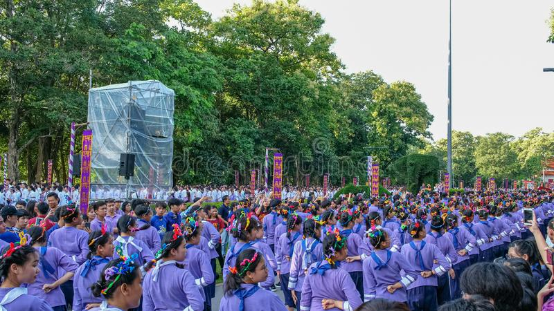 Chiangmai,Thailand September 14,2019  Tradition activities called CMU trekking 2019. A part of freshmen welcoming ceremony of Chiangmai University,Thailand royalty free stock photo