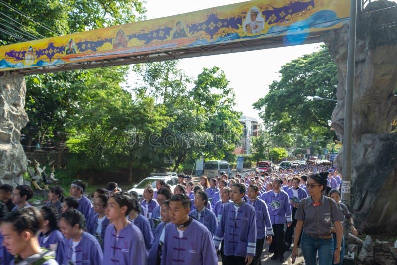 Chiangmai,Thailand September 14,2019  Tradition activities called CMU trekking 2019. A part of freshmen welcoming ceremony of Chiangmai University,Thailand royalty free stock photos