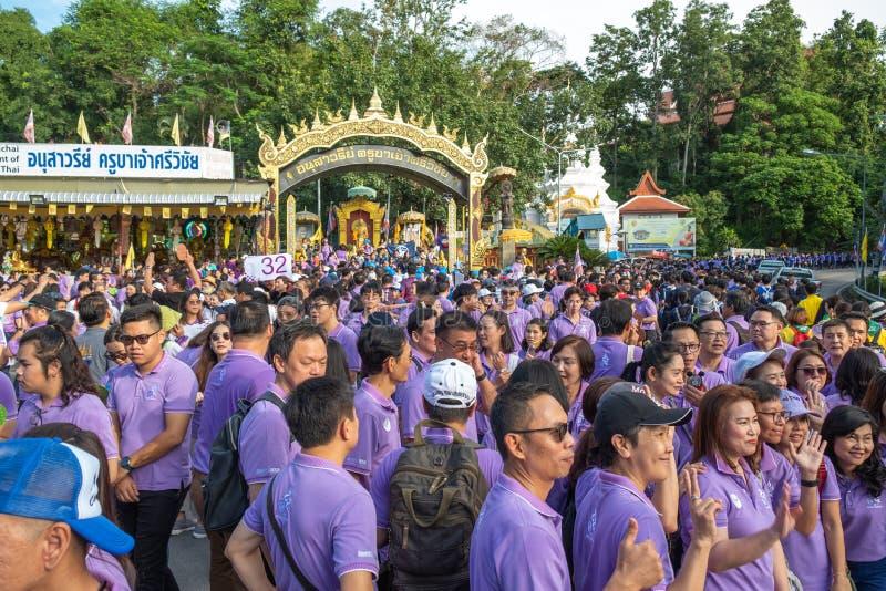 Chiangmai,Thailand September 14,2019  Tradition activities called CMU trekking 2019. A part of freshmen welcoming ceremony of Chiangmai University,Thailand stock photos