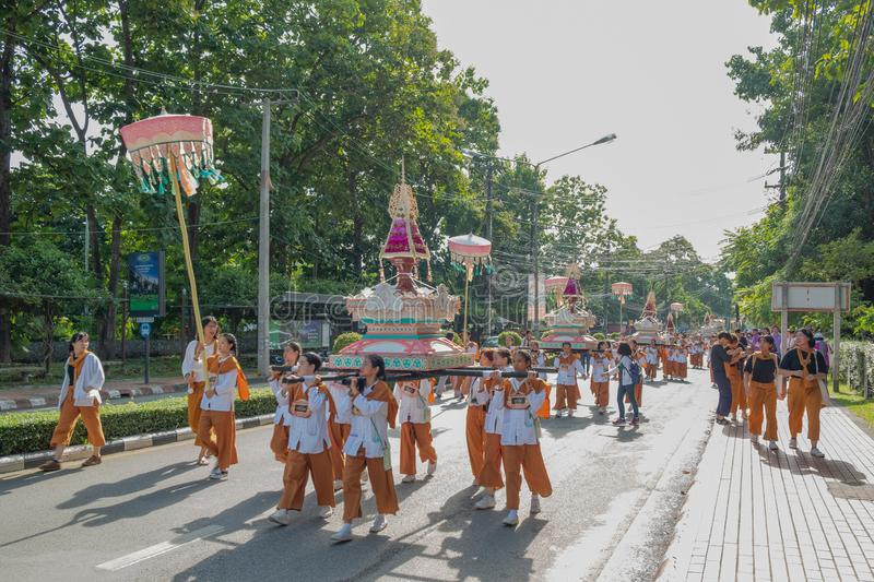 Chiangmai,Thailand September 14,2019  Tradition activities called CMU trekking 2019. A part of freshmen welcoming ceremony of Chiangmai University,Thailand royalty free stock images