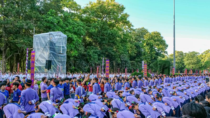 Chiangmai,Thailand September 14,2019  Tradition activities called CMU trekking 2019. A part of freshmen welcoming ceremony of Chiangmai University,Thailand royalty free stock image