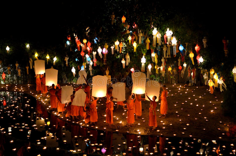 Chiangmai Yee Peng festival royalty free stock photo