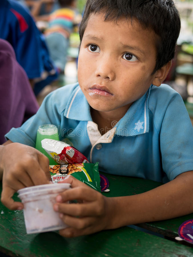 CHIANGRAI, THAILAND - August 12, 2016: Unidentified child orphans in Ban nana house. Ban nana Orphanage take care children from T. Ribal Problem family royalty free stock photo