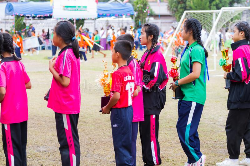 CHIANGRAI, THAILAND - DECEMBER 29: unidentified sport children h stock images