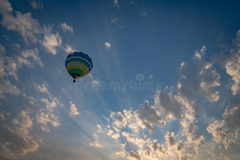 Chiangrai, Thailand - 15 Feb, 2018: Singhapark Balloon Fiesta 2018 with a lot of people in the event, They was waiting for the. Balloon take off / landing royalty free stock image