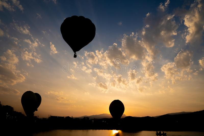 Chiangrai, Thailand - 15 Feb, 2018: Singhapark Balloon Fiesta 2018 with a lot of people in the event, They was waiting for the. Balloon take off / landing royalty free stock photography