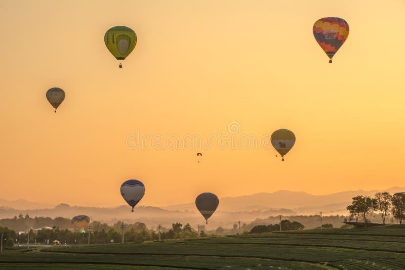 CHIANGRAI, THAILAND - 26 NOV. 2014: De uitdaging van hete luchtballons in Singha-park Chiangrai in landbouwbedrijffestival 2014 royalty-vrije stock foto's