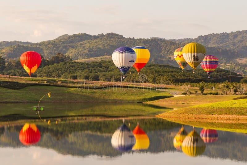 CHIANGRAI, THAILAND - NOV 29 2015 : Hot air balloon farm festival in Chiangrai, Thailand. stock photos