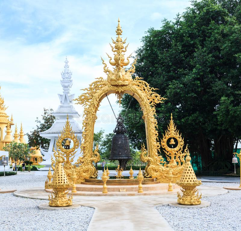 Chiangrai, Thailand - September 01, 2018: Wat Rong Khun White Temple is one of most favorite landmarks tourists visit in Thailan. D, built with modern stock photos