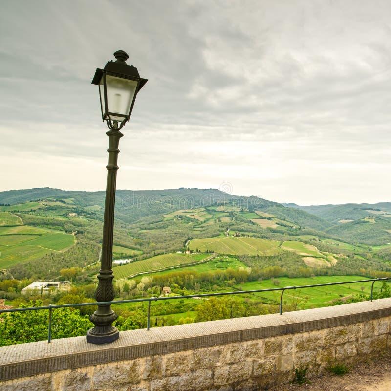 Chianti地区、灯和农村风景。Radda,托斯卡纳,意大利 库存图片