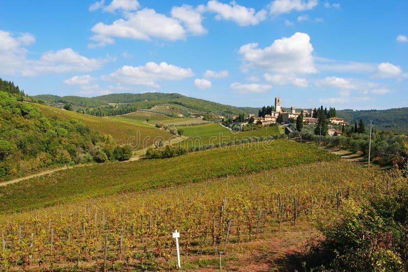 Chianti风景在托斯卡纳,意大利 图库摄影