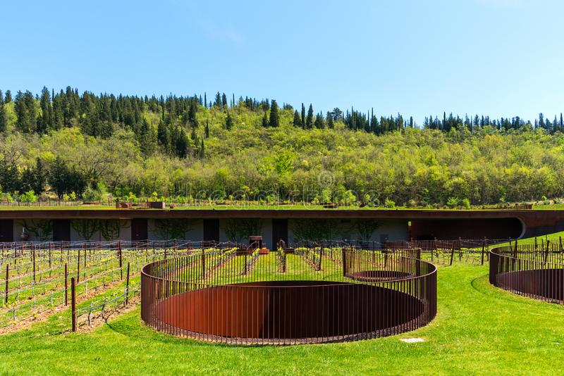 Chianti Region, Italy - April 20, 2018: The Antinori nel Chianti Classico winery stock photo