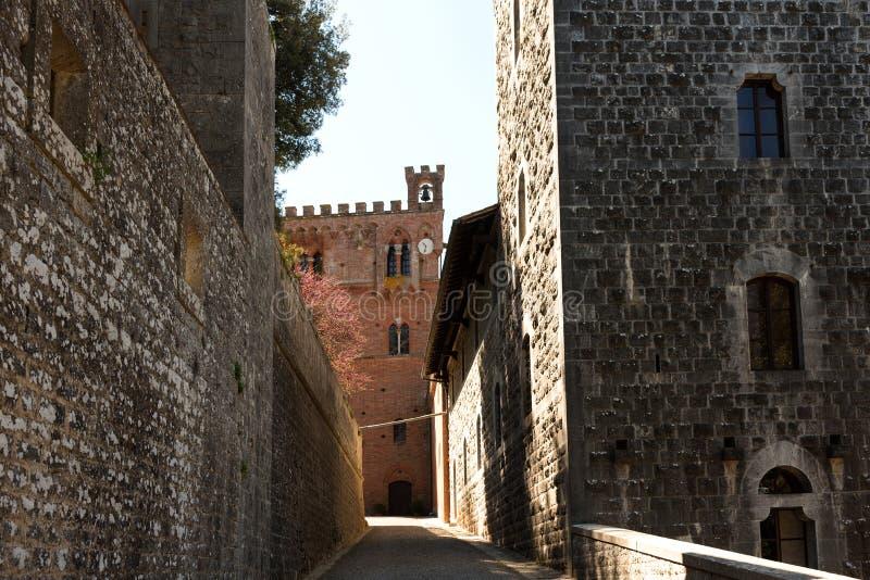 Chianti Region, Italy - April 21, 2018: Castello di Brolio, a rural castle, palace and gardens, near Siena, region of Tuscany, royalty free stock photography