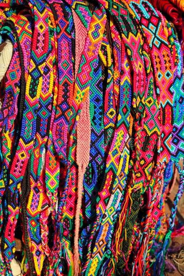 Chiapas Mexico handcrafts belts colorful bracelets royalty free stock photography