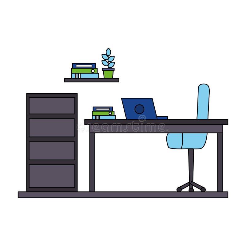 Chiar Bücherregal und Kabinett des Arbeitsplatzschreibtischlaptops lizenzfreie abbildung
