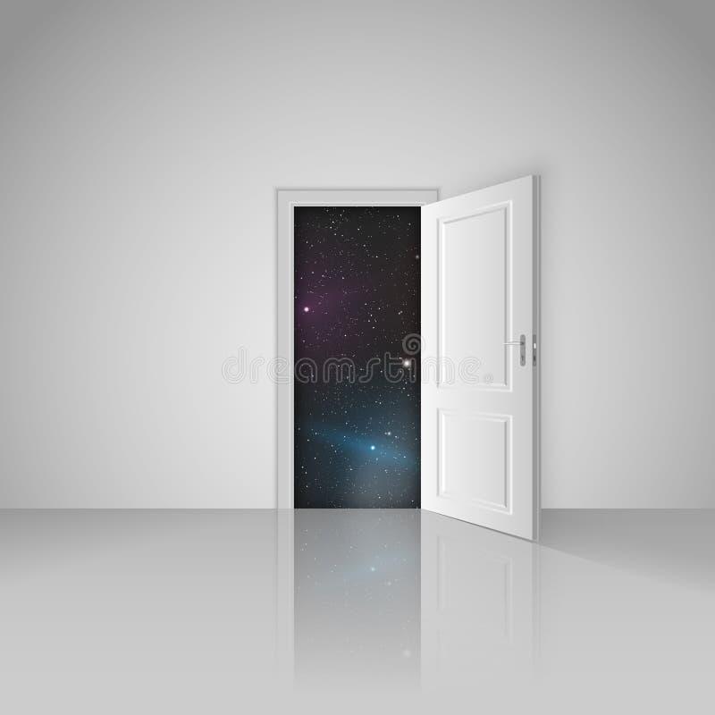 Chiara stanza bianca con la porta aperta all'universo illustrazione vettoriale
