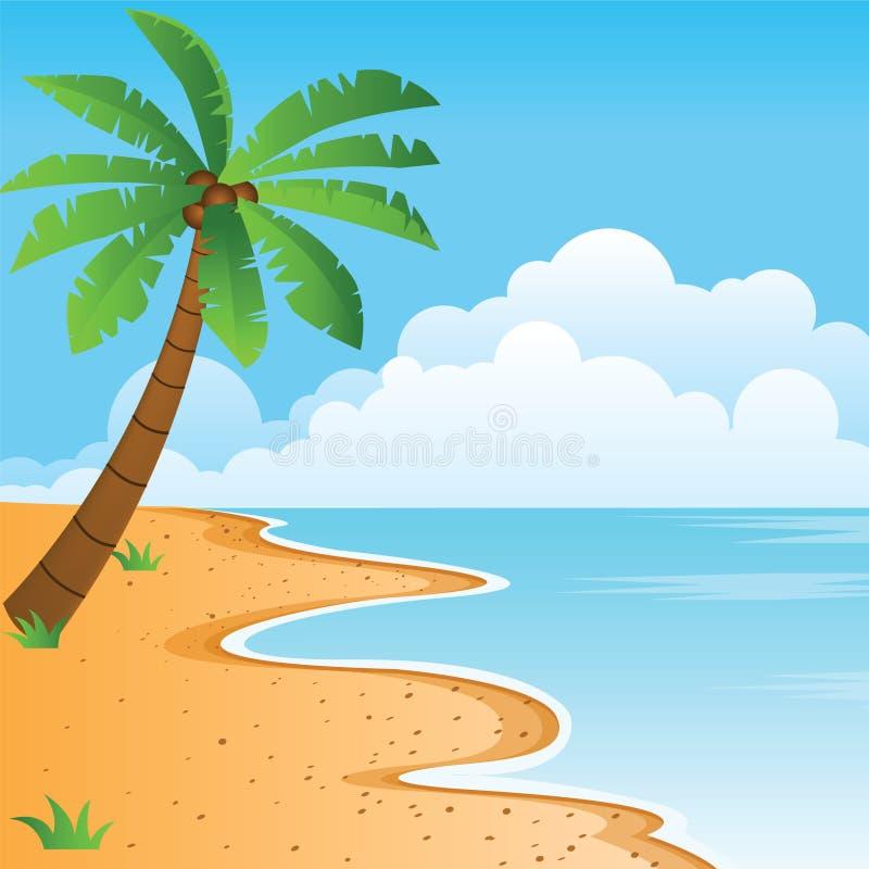 Chiaro mare blu, spiaggia arancio piacevole, palma sola con nuvoloso royalty illustrazione gratis