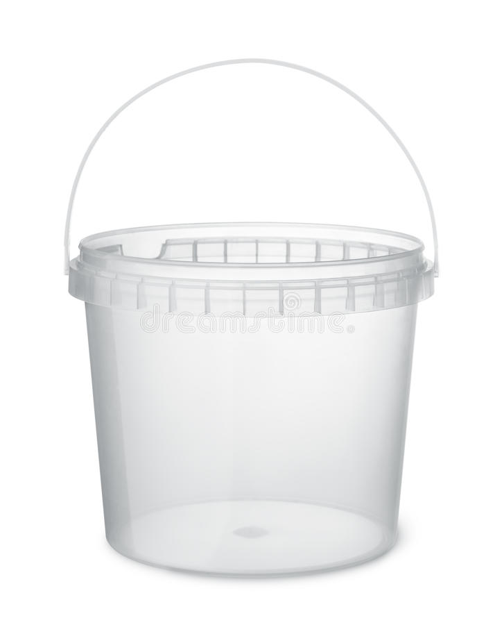 Chiaro secchio di plastica dell'alimento fotografia stock libera da diritti
