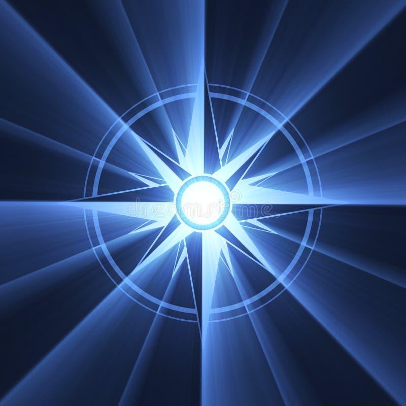 Chiarore blu di simbolo della stella della bussola illustrazione di stock