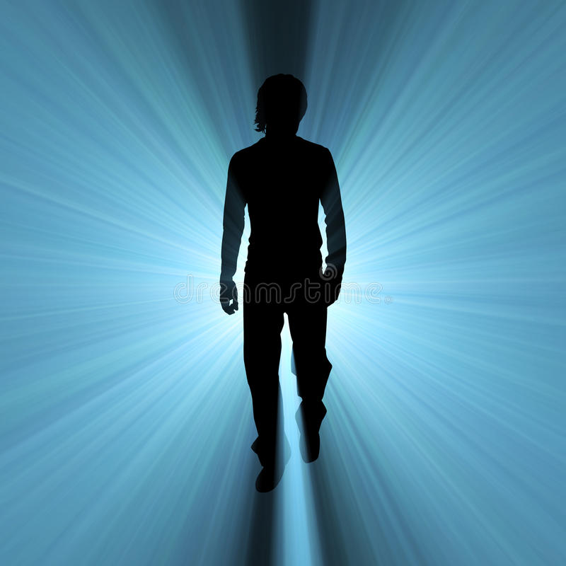 Chiarore dell'indicatore luminoso dell'ombra vagante dell'uomo royalty illustrazione gratis