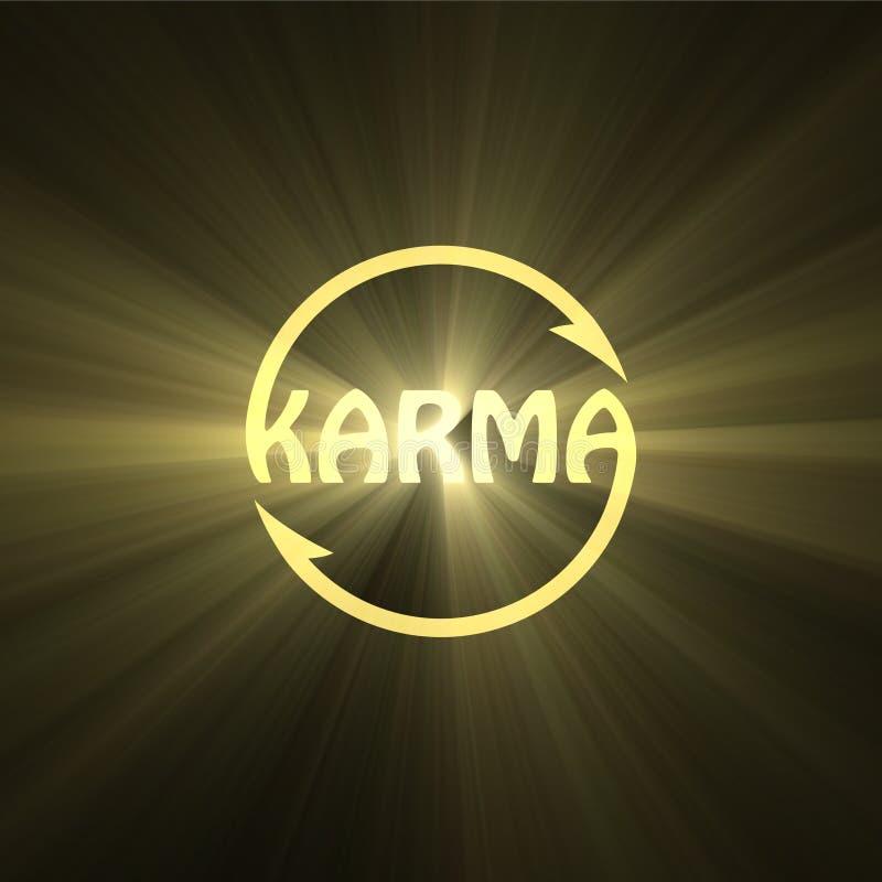 Chiarore della luce del segno di buddismo della lettera di karmi royalty illustrazione gratis