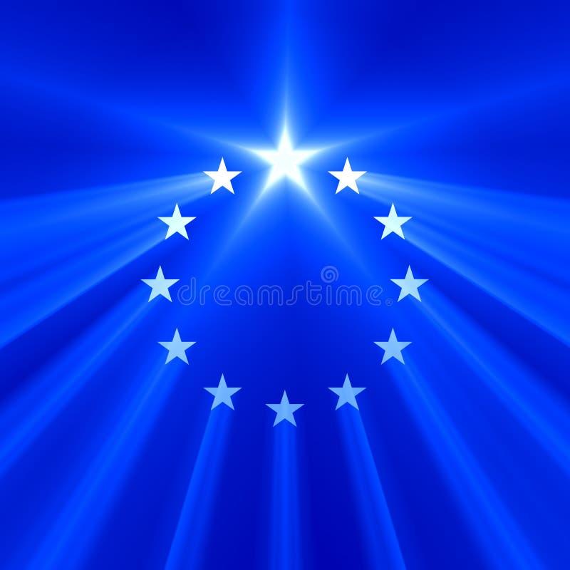 Chiarore della luce della stella dell'Unione Europea illustrazione vettoriale