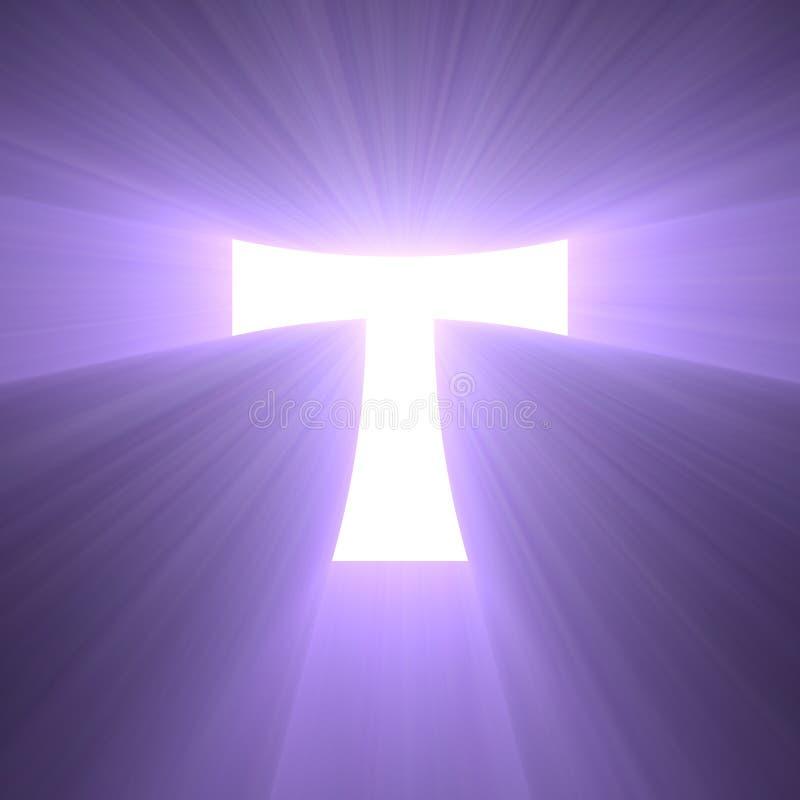 Chiarore della luce di simbolo dell'incrocio di tau illustrazione vettoriale