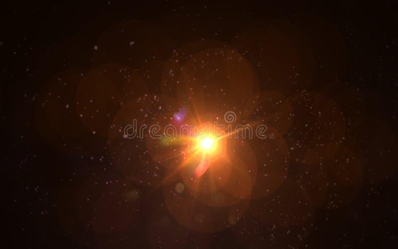 chiarore digitale della lente nel fondo nero illustrazione di stock