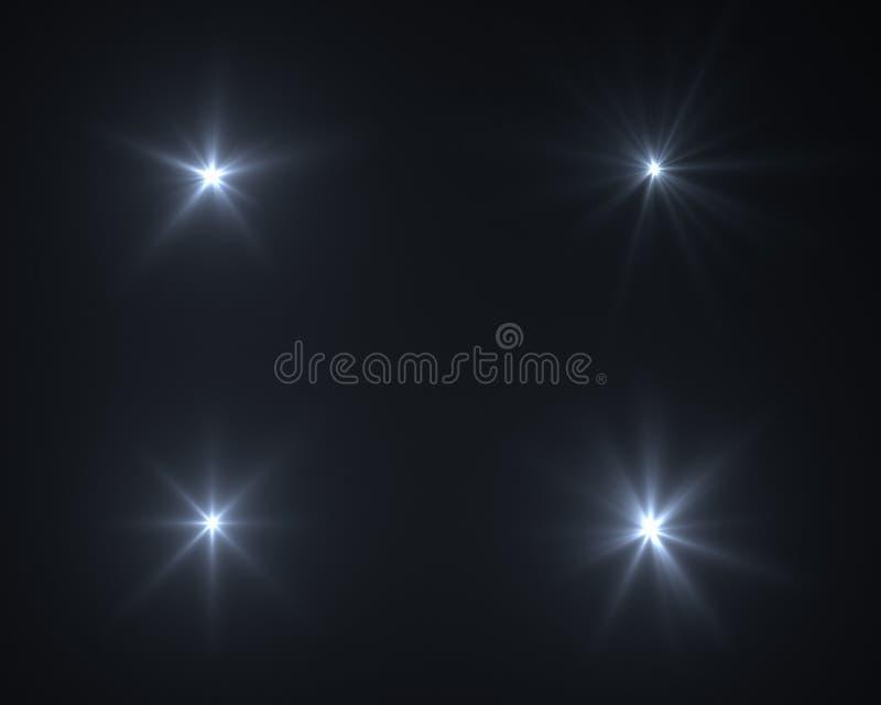 Chiarore digitale realistico della lente nel fondo nero fotografia stock libera da diritti