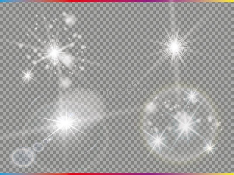 Chiarore dorato isolato della lente Insieme di effetto della luce di vettore di incandescenza, esplosione, scintillio, scintilla, immagine stock