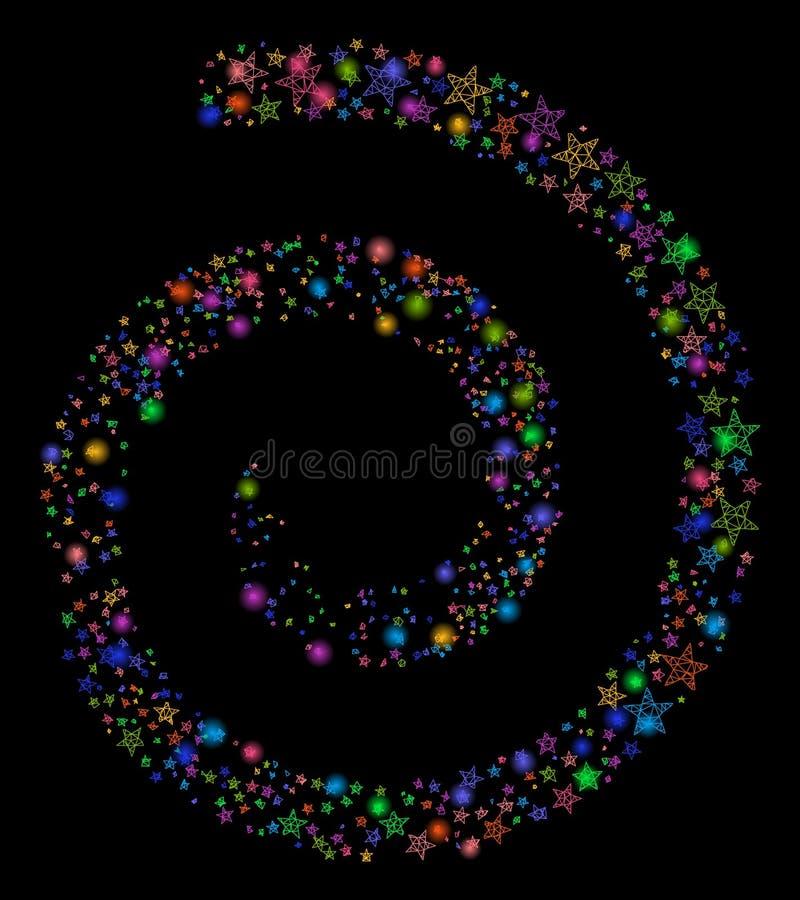 Chiarore Mesh Network Star Fireworks Spiral con i punti luminosi illustrazione di stock