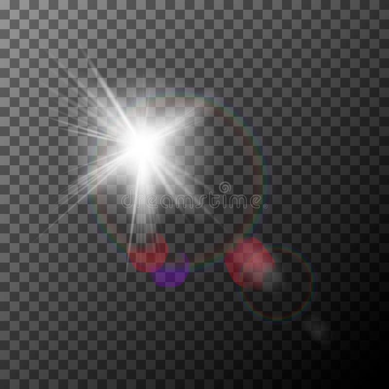 Chiarore realistico della lente con i punti culminanti Effetto della luce illustrazione vettoriale