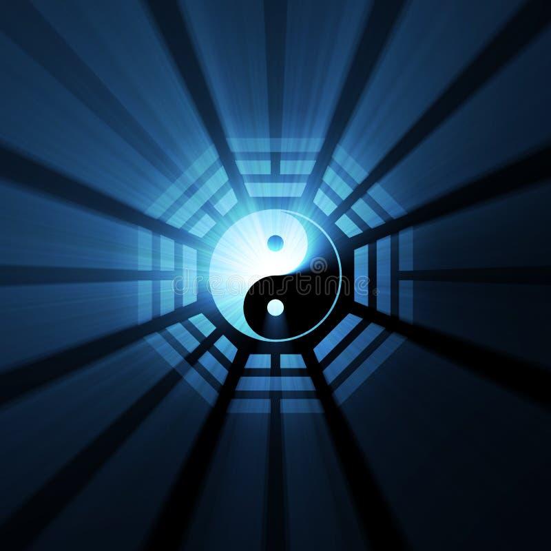 Chiarori dell'indicatore luminoso di simbolo di Bagua Yin Yang illustrazione di stock