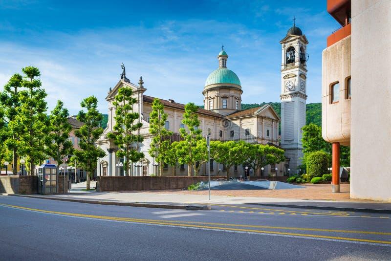 Chiasso, Tessin-Bezirk, die Schweiz Kirche von San Vitale in der Mitte der Stadt von Chiasso lizenzfreie stockbilder