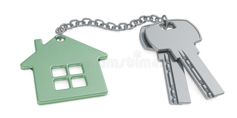 Chiave ad un nuovo concetto domestico - chiavi della Camera con la casa del ninnolo isolata su bianco rappresentazione 3d illustrazione vettoriale