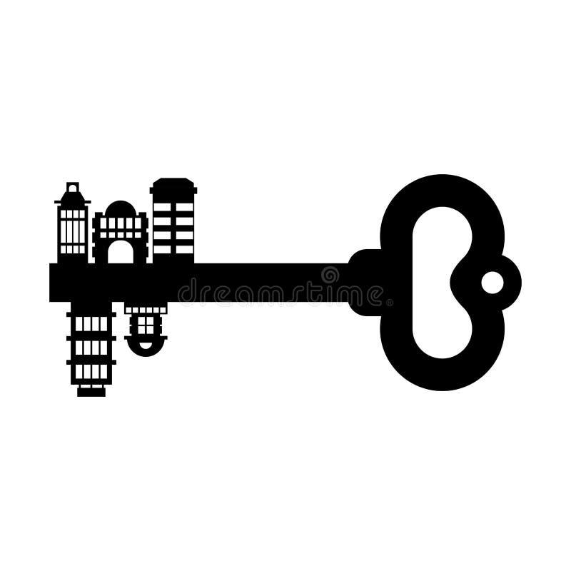chiave alla città Costruzioni e case indizio urbano isolato Esta reale royalty illustrazione gratis