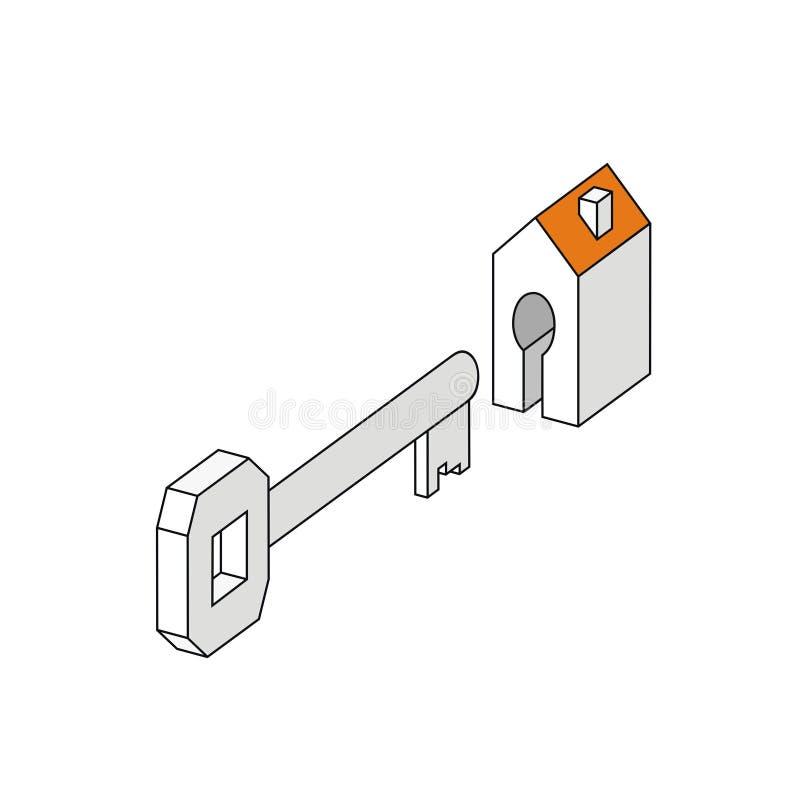 Chiave con la casa costruzione dell'illustrazione di vettore di simbolo del segno e serratura a chiave stilizzate dell'appartamen illustrazione di stock