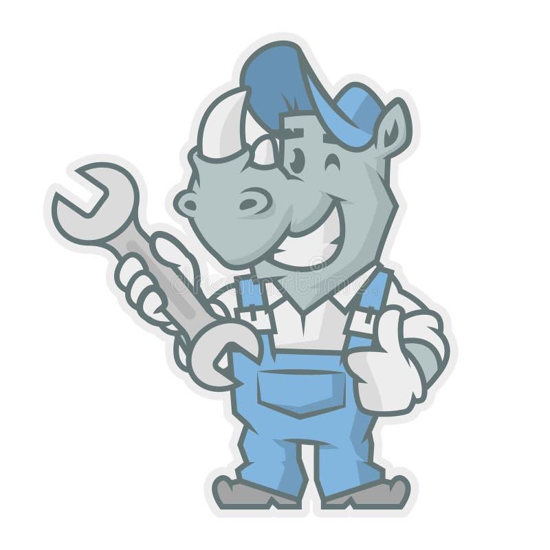 Chiave della tenuta del carattere del rinoceronte illustrazione di stock